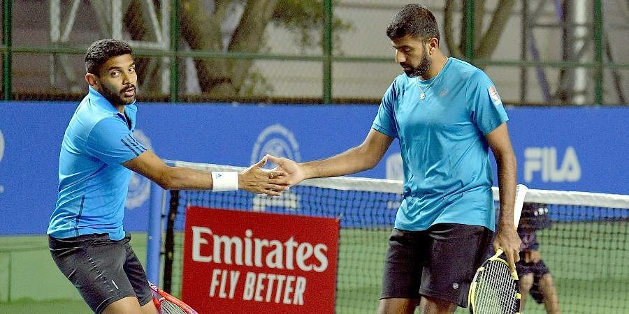 Indian tennis stars Divij Sharan (L) and Rohan Bopanna
