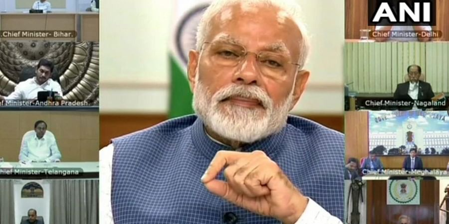 Prime Minister Narendra Modi holds meeting with Chief Ministers via video conferencing.
