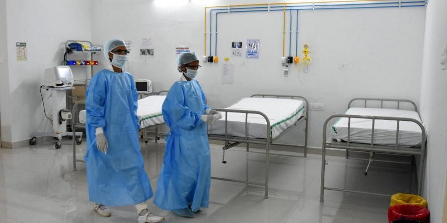 Beds in isolation ward set up for coronavirus patients.