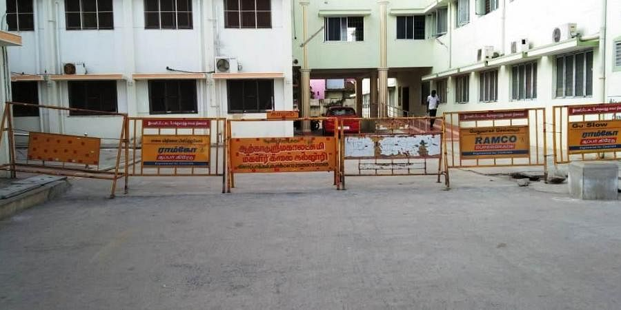 The Coronavirus isolation ward is cordoned off by erecting barricades at the District Headquarters Hospital, Walajapet in Ranipet