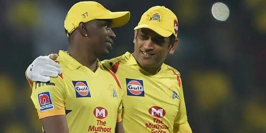 CSK skipper MS Dhoni with all-rounder Dwayne Bravo