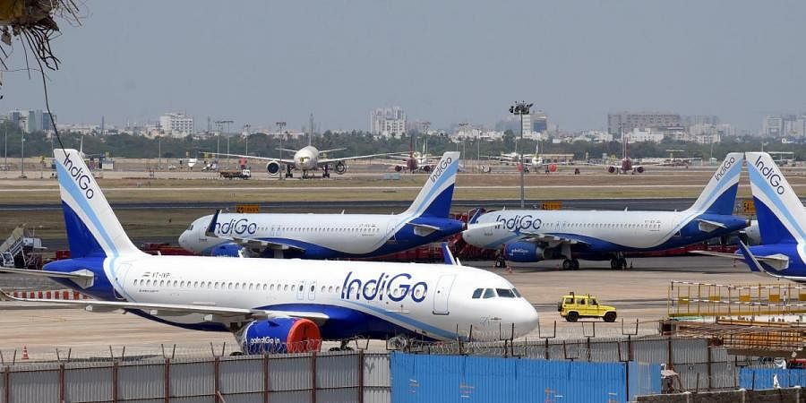 Planes sit idle at the Chennai airport as all flights were cancelled due to the nationwide lockdown in the wake of Coronavirus.