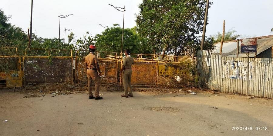 The Soriyankuppam border with Cuddalore sealed with a police barricade