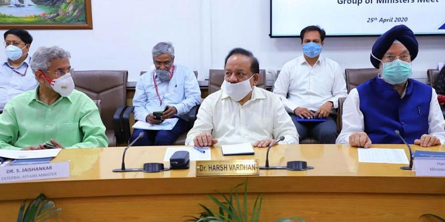 Union Health Minister Dr. Harsh Vardhan chairs the Union Group of Ministers (GoM) meeting over COVID-19, at Health Ministry, in New Delhi