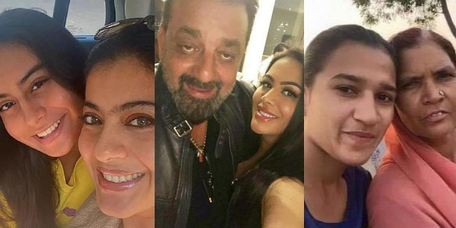 (From L to R): Actress Kajol with her daughter, Actor Sanjay Dutt with his daughter and Hockey player RaniRampal with her mother.