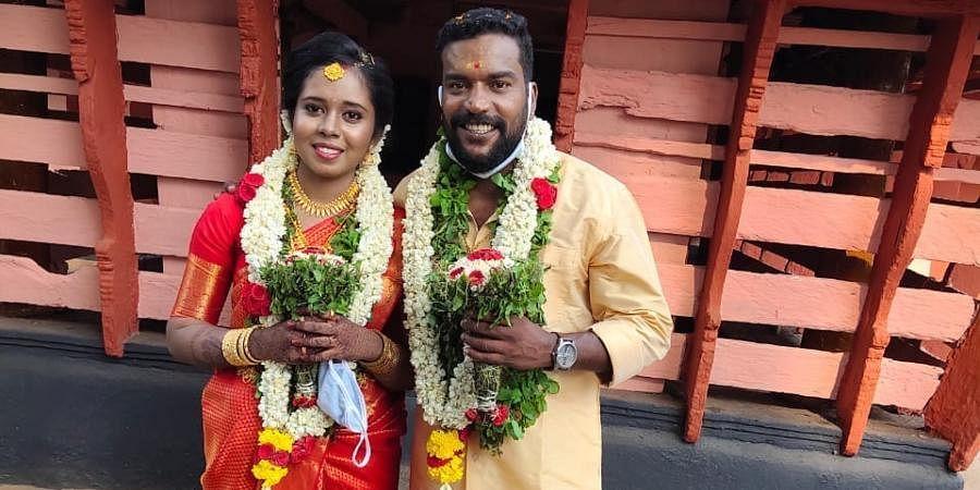 'Kammattipadam' actor Manikandan Achari with his wife Anjali.