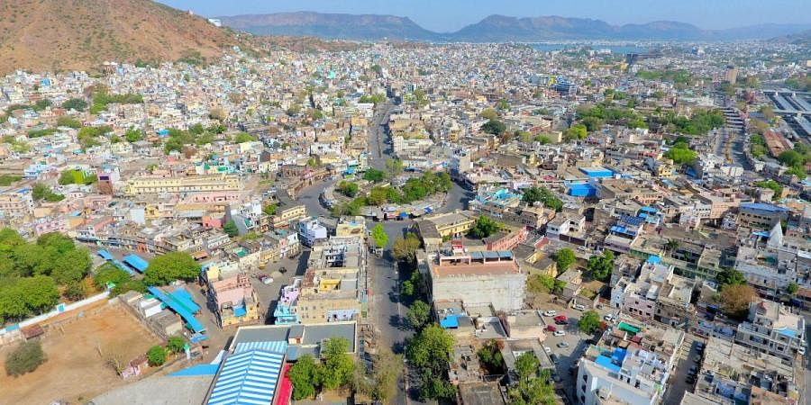 A deserted view of curfew imposed area during the nationwide lockdown as a preventive measure against the COVID-19, in Ajmer