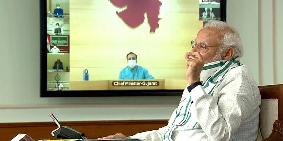 Prime Minister Narendra Modi interacts with Chief Ministers of all States on COVID-19 situation through video conference, in New Delhi