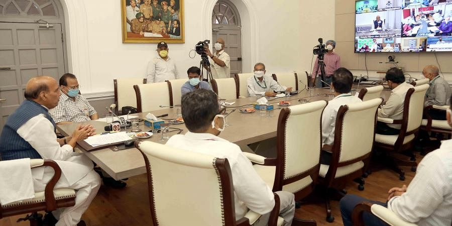 Rajnath Singh during a review meeting.