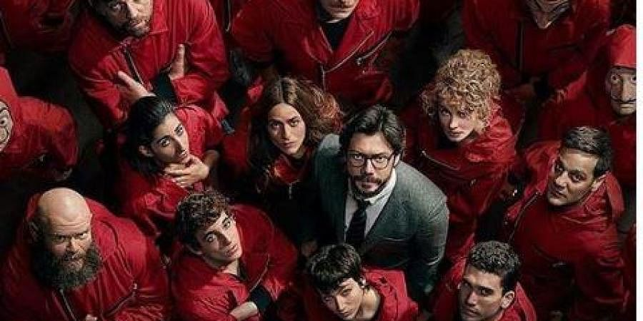 Cast of 'Money Heist' with Alvaro Morte.