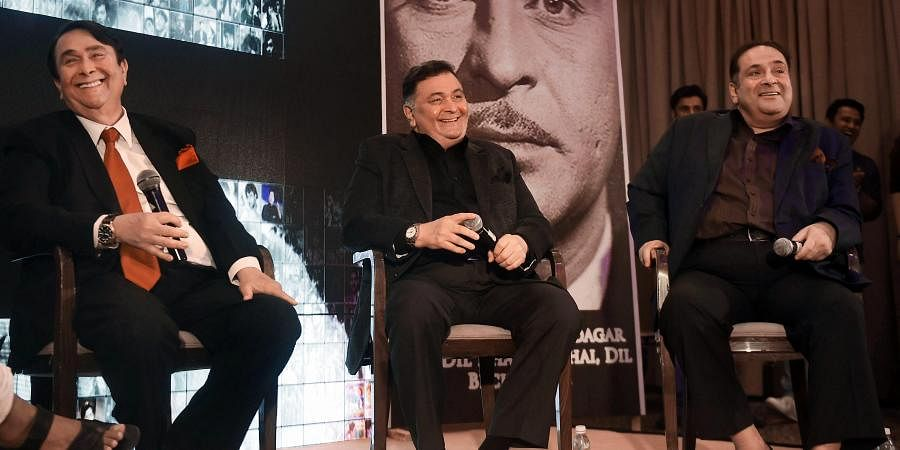 Bollywood actor-brothers Randhir Kapoor, Rishi Kapoor and Rajiv Kapoor during the unveiling of 'Raj Kpoor Awards for Excellence in Entertainment' in Mumbai