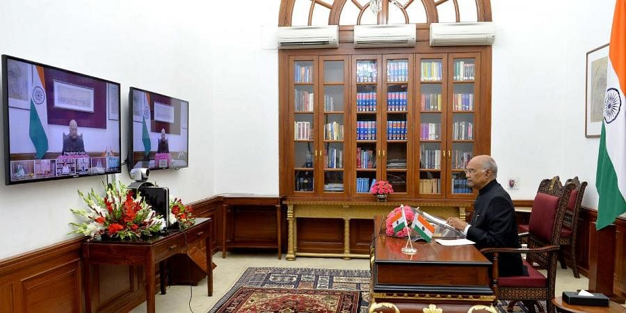 President Ram Nath Kovind speaks to Governors and L-Gs through video conferencing