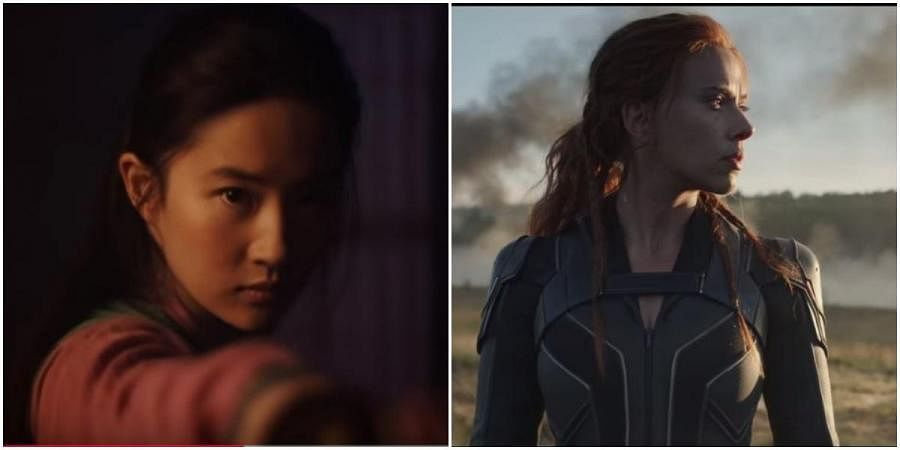Stills from Mulan (L) and Black Widow