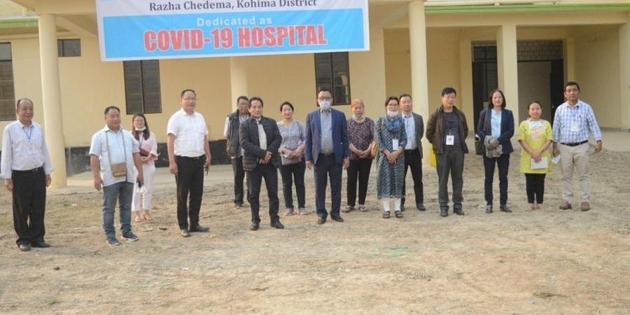 Minister of health and family welfare, Pangnyu, and others during his visit to a COVID-19 hospital.