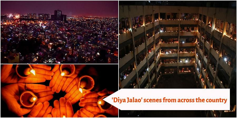 After Prime Minister Narendra Modi urged people to light lamps to express unity in fight against the novel coronavirus, people across India switched lit lamps, diyas and flashed moblie lights for nine minutes at 9pm on Sunday.