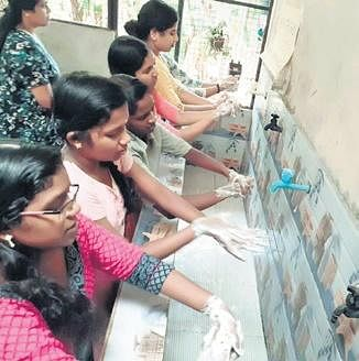 CCI's children being taught to wash their hands
