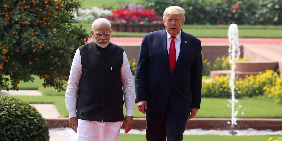 U.S. President Donald Trump and Indian Prime Minister Narendra Modi arrive for a joint press statement at the Hyderabad House in New Delhi on Tuesday Feb. 25 2020.