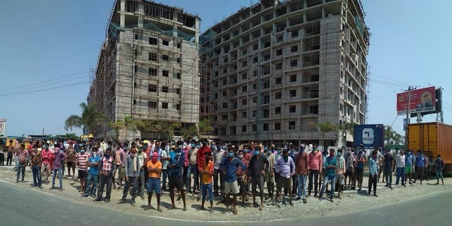 More than 150 workers had come out of the site and sat on a protest over the lack of adequate food supplies during the second phase of the lockdown and the non-payment of March salaries