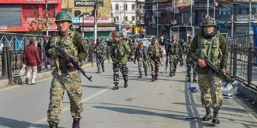 Security personnel sanitising the area after a grenade blast hurled by suspected militants at Hari Singh High Street in Srinagar Monday Nov. 4 2019.   (Photo   PTI)