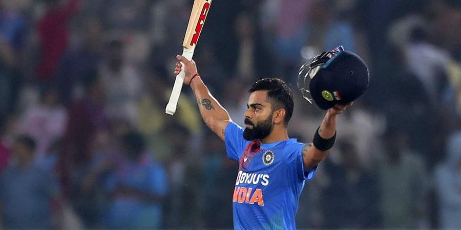 India's Virat Kohli celebrates after win the first T20 match against West Indies at Rajiv Gandhi International Stadium in Hyderabad. (Photo | AP)