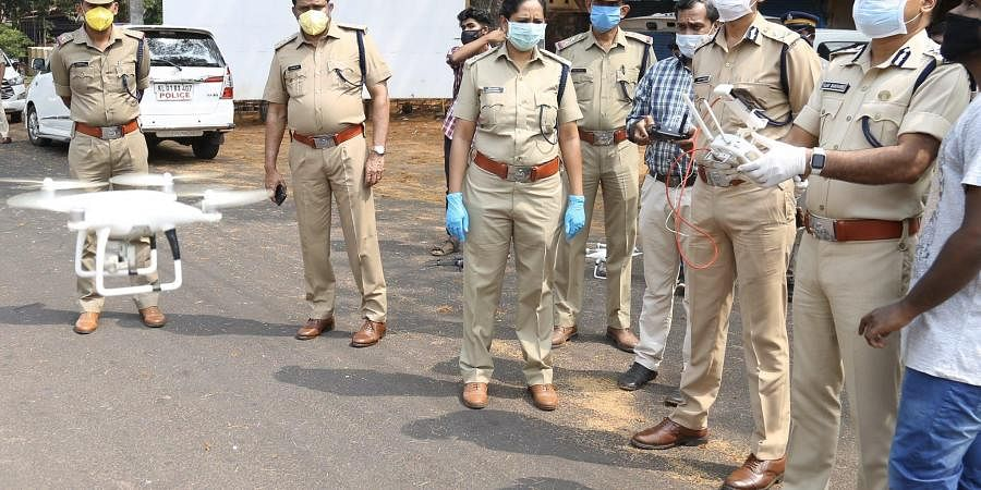 Kasaragod Police test a drone for surveillance of movement during lockdown.