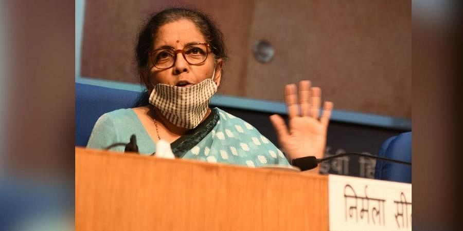 Finance minister Nirmala Sitharaman during a press meet in New Delhi