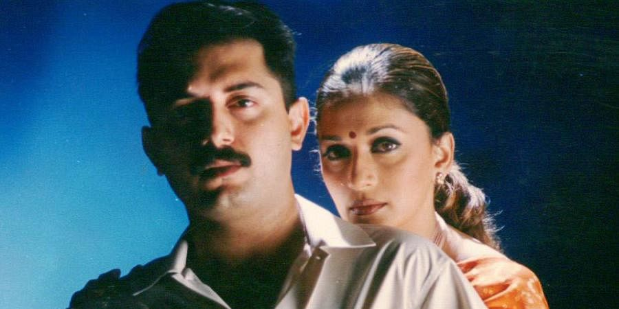 Kollywood actor Aravindsamy and actress Madhuri Dixit in Tamil film 'Engineer'.
