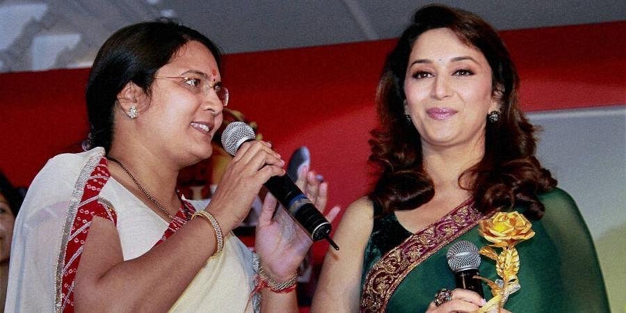 Bollywood actress Madhuri Dixit with Mayor Jyoti Khandelwal during an event in Jaipur.