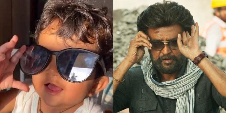 Actress Sameera Reddy's daughter Nyra and Rajinikanth