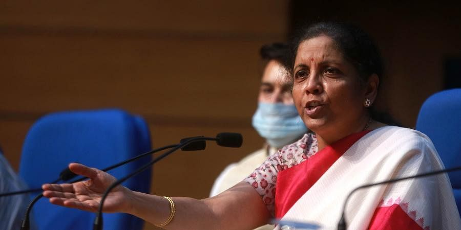 Union Finance Minister Nirmala Sitharaman addressing a press conference in New Delhi on Friday.
