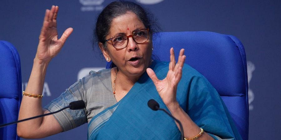 Union Finance Minister Nirmala Sitharaman addresses a press conference to announce the fifth and final tranche of economic stimulus package at the National Media Centre in New Delhi on Sunday.