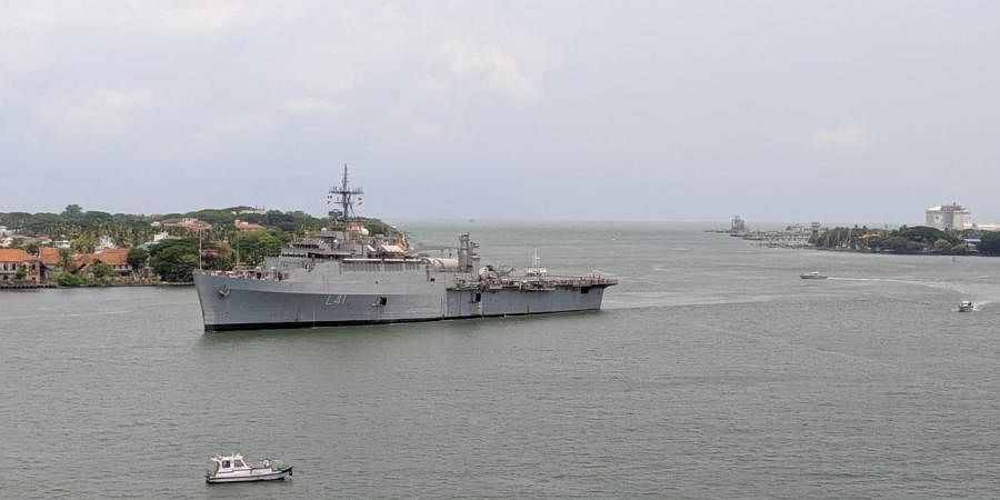 The Indian Navy ship INS Jalashwa under 'Operation Samudra Setu' with 588 evacuees from Maldives arrived at the Cochin Port at 11.30 am on Sunday.