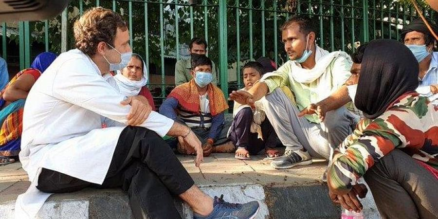 Congress leader Rahul Gandhi meets migrant workers in Delhi. (Photo| ANI)