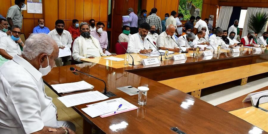 Chief Minister of Karnataka BS Yediyurappa interacts with leaders of Opposition and all party meeting on  COVID 19 preparedness ,during the nationwide lockdown in the wake of novel coronavirus (COVID 19) pandemic, in Bengaluru