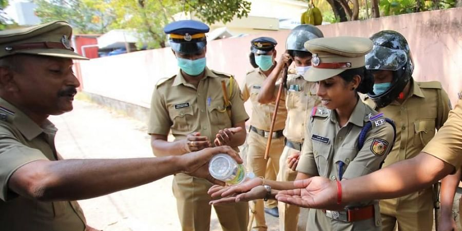 hand sanitisers, Indian police, Kerala police, police, coronavirus, hand hygiene