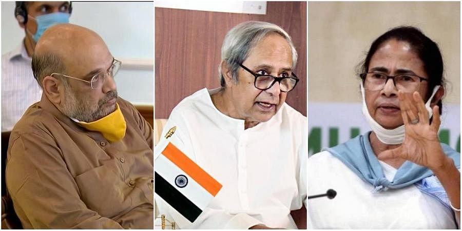 (From left) Union Home Minister Amit Shah, Odisha CM Naveen Patnaik and West Bengal CM Mamata Banerjee