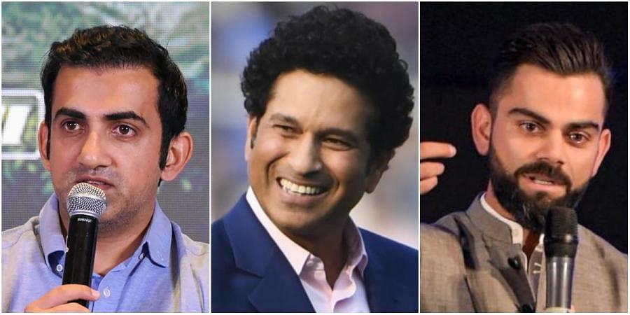 (From left) Former cricketers Gautam Gambhir, Sachin Tendulkar and Indian skipper Virat Kohli