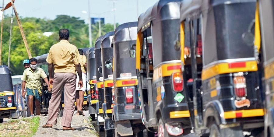 Autorickshaws lined up at the Thampanoor stand. Though drivers have been given permission to operate, many are struggling to get a decent income