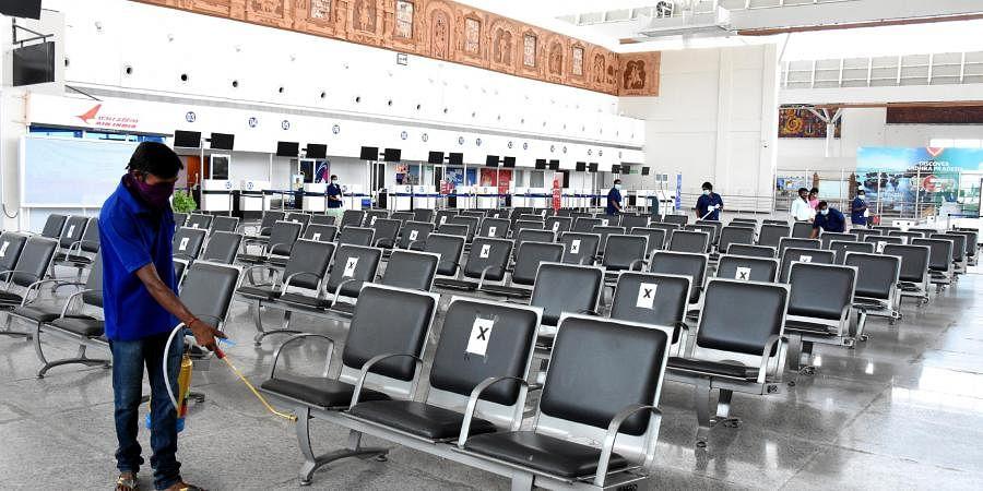 Cleaning and sanitizing at renigunta airport near tirupati on Saturday.