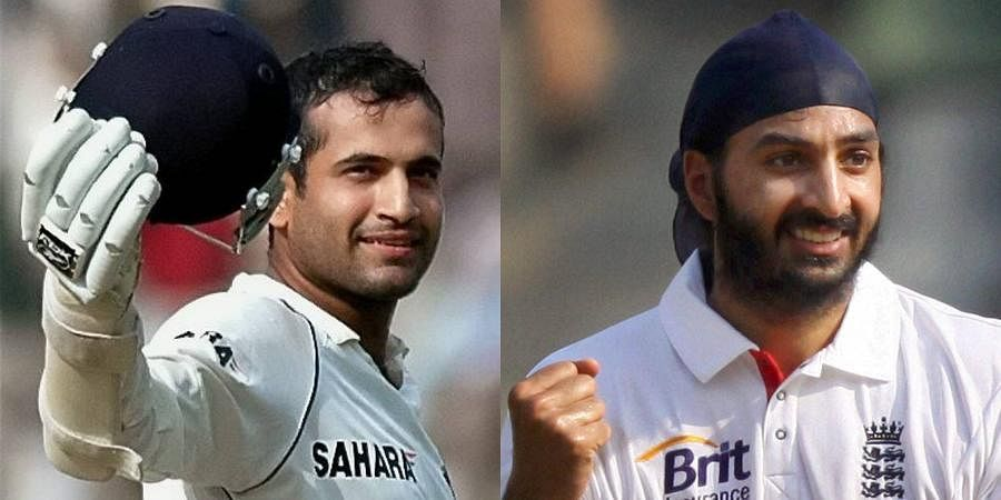 Former cricketers Irfan Pathan (L) and Monty Panesar