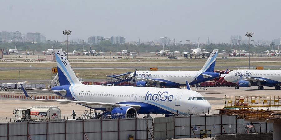 Aeroplanes parked at Chennai airport during the ongoing COVID-19 nationwide lockdown in Chennai