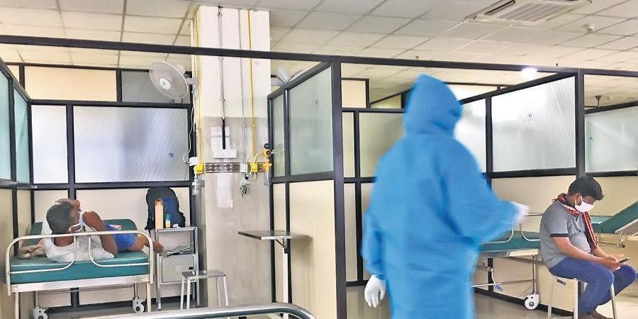 A Covid-19 isolation ward at a hospital.