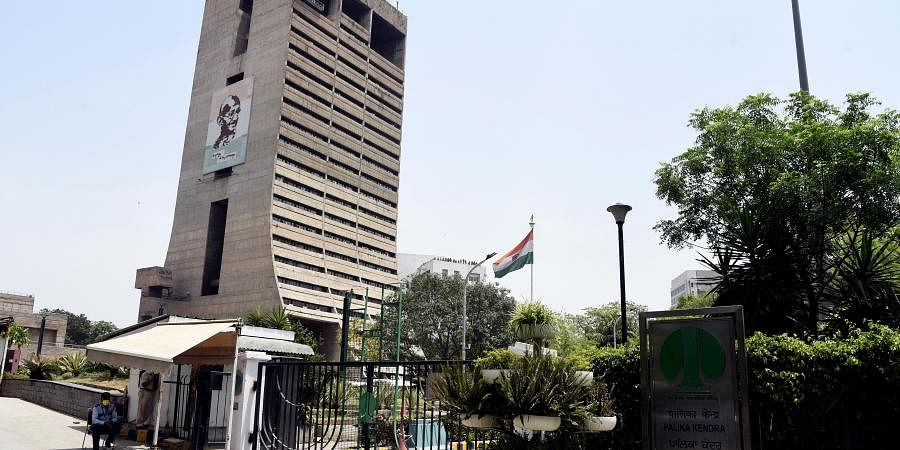 view of headquarters of the New Delhi Municipal Council NDMC Palika Kendra which was sealed for sanitization after five employees tested positive for COVID-19 in New Delhi on Thursday.