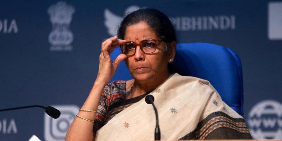 Union Finance minister Nirmala Sitharaman addresses a press conference in New Delhi. (Photo|EPS/ Shekhar Yadav)
