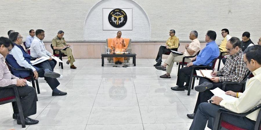 Yogi Adityanath at a meeting with officials