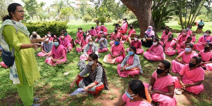 ASHA workers stage a protest in Mysuru