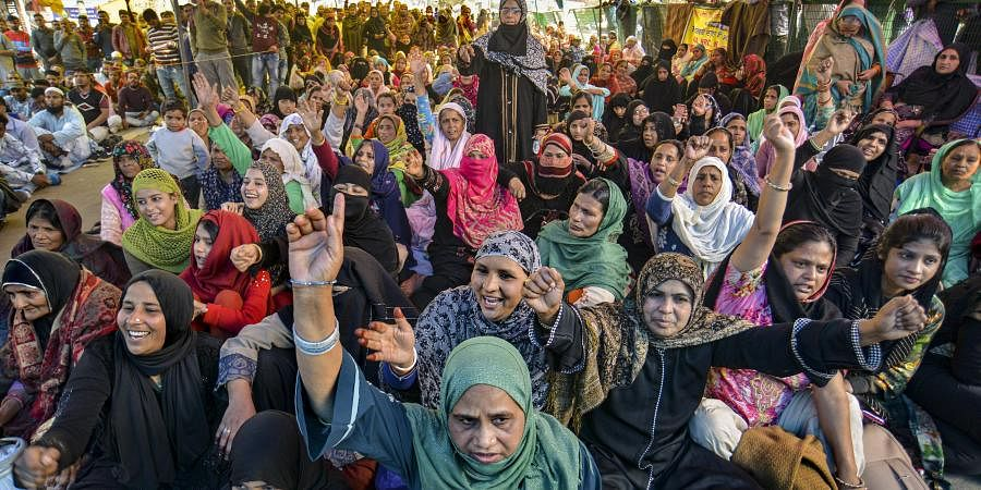 Anti-CAA protesters at Shaheen Bagh. (Photo| PTI)
