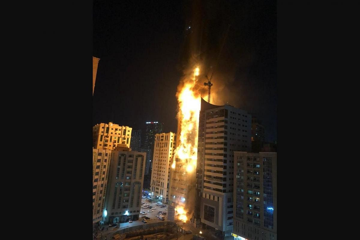 Watch Massive Fire Breaks Out In Sharjah Residential Tower 12 Injured The New Indian Express