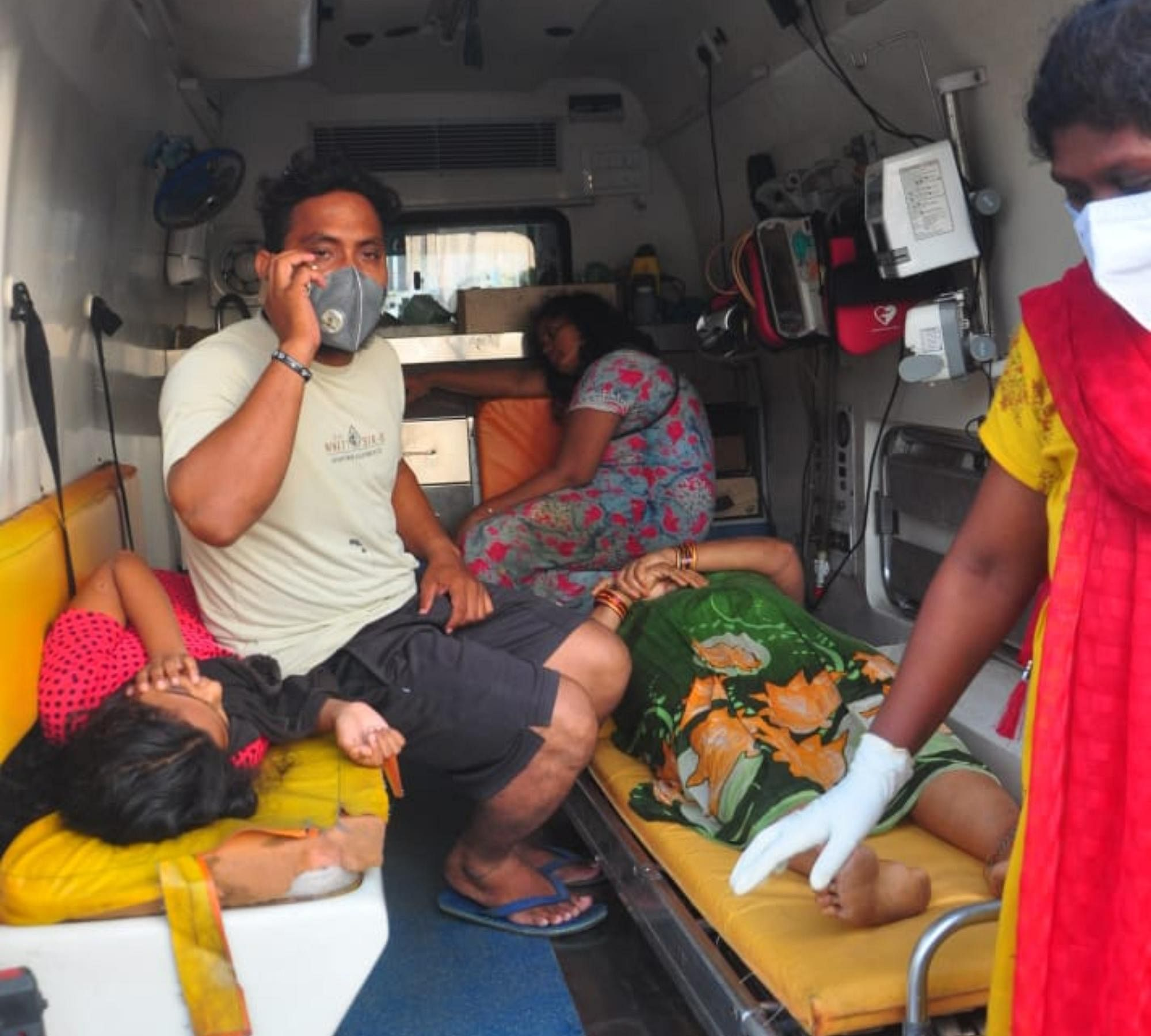Children, affected by gas leak from LG Polymers , are shifted to a nearby hospital in Visakhapatnam