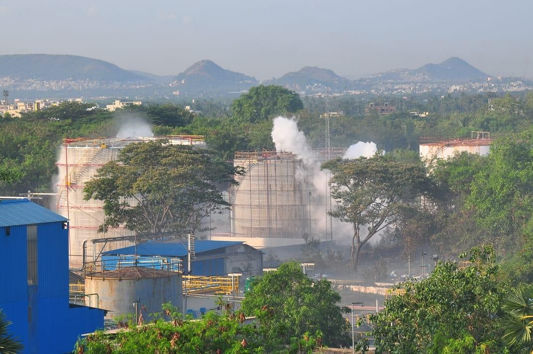 Thick smoke comprising gas billowing out of LG Polymers unit in Visakhapatnam on Thursday